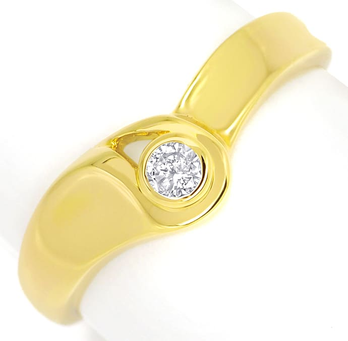 Foto 2 - Diamantring mit 0,09ct Brillant Solitär in 14K Gelbgold, Q0081
