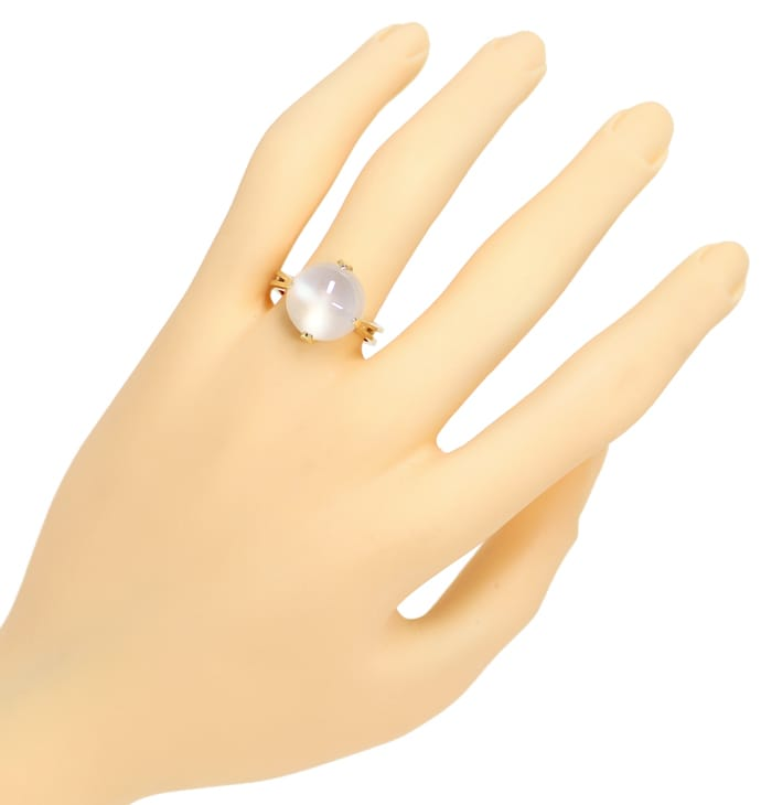 Foto 4, Mondstein Gelbgold Ring 8,5ct großer Mondstein Cabochon, Q0083