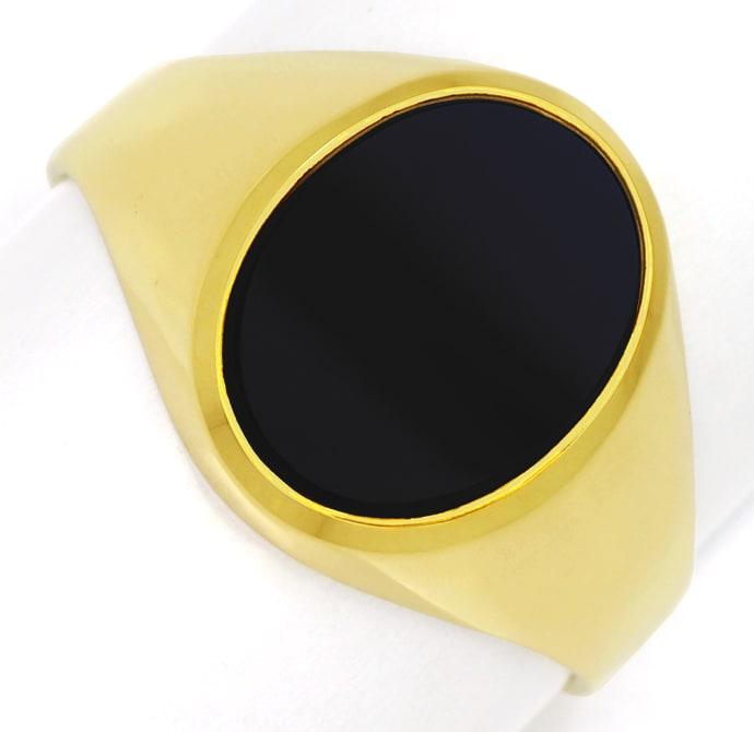Foto 2, Siegelring mit Onyx Platte oval ungraviert 14K Gelbgold, Q0085