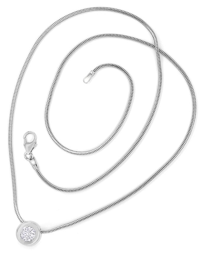 Foto 4, Anhänger Brillant 0,51ct DPL Expertise an Weißgoldkette, Q0104