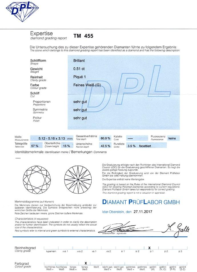 Foto 9, Anhänger Brillant 0,51ct DPL Expertise an Weißgoldkette, Q0104