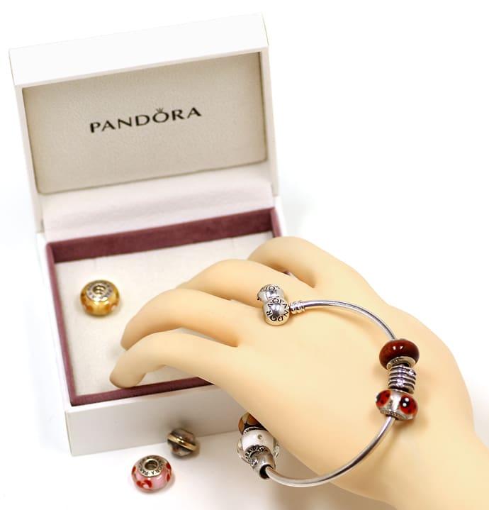 Foto 5, Pandora Armreif mit 6 Muranoglas Charms und 4 in Silber, Q0129