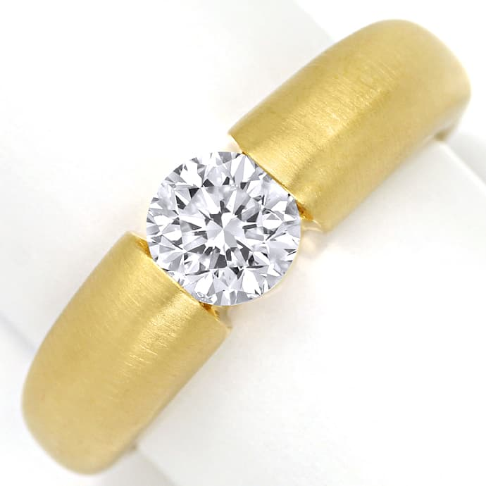 Spannring mit 1,01ct Wesselton Brillant Solitär in Gold, Designer Ring