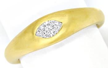 Foto 1, Marquise Diamant 0,27ct Lupenrein massiver 18K Goldring, Q0144