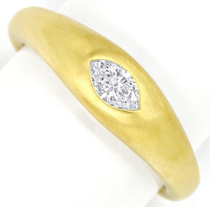 Foto 2, Marquise Diamant 0,27ct Lupenrein massiver 18K Goldring, Q0144