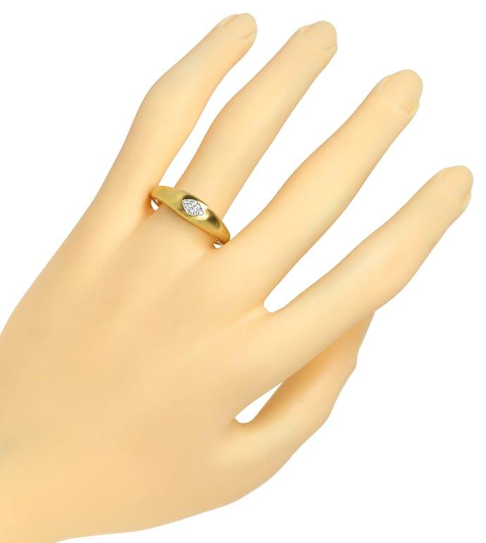 Foto 4, Marquise Diamant 0,27ct Lupenrein massiver 18K Goldring, Q0144
