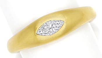 Foto 1, Bandring mit 0,30ct lupenreiner Diamant Navette in Gold, Q0145