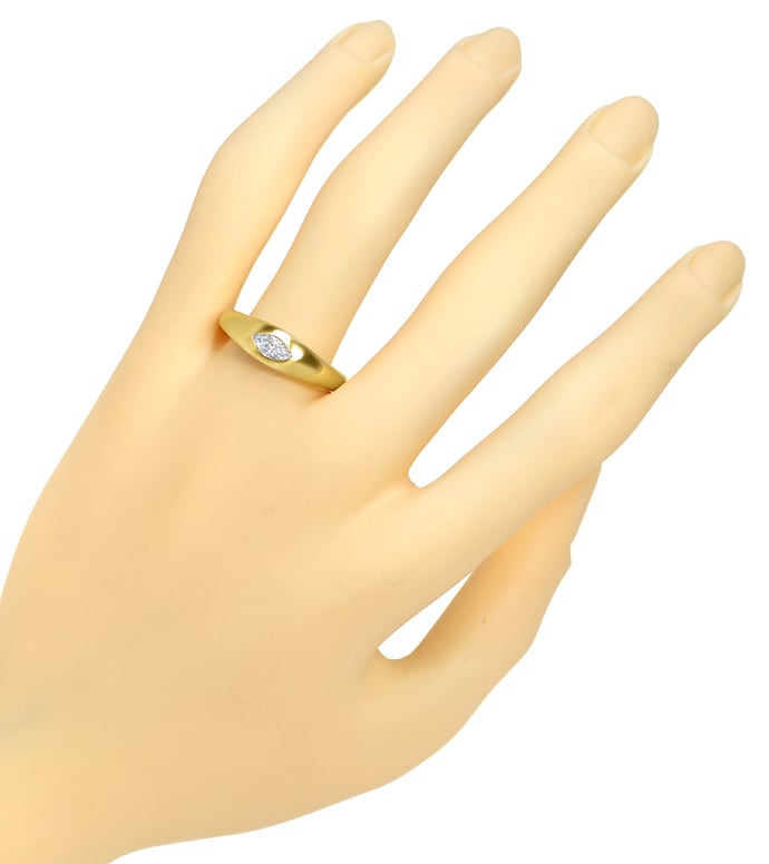 Foto 4, Bandring mit 0,30ct lupenreiner Diamant Navette in Gold, Q0145