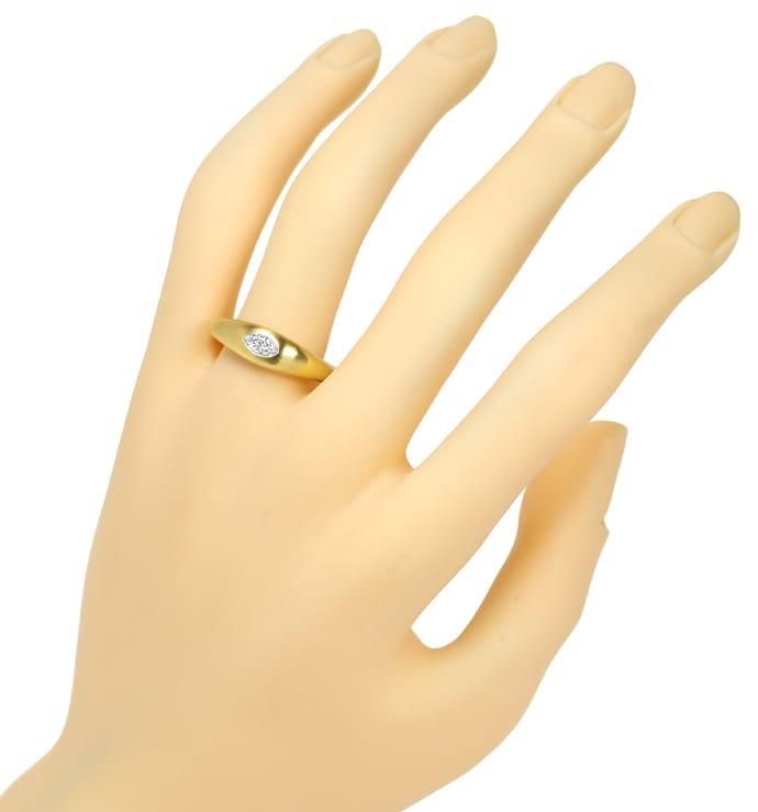Foto 4, Gold Ring Diamant 0,30ct F lupenrein Schiffchen Schliff, Q0146