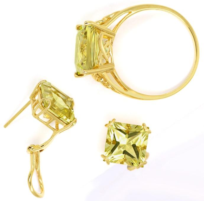 Foto 1, Ring und Ohrringe mit Prasiolith Lemonquarz in Gelbgold, Q0190