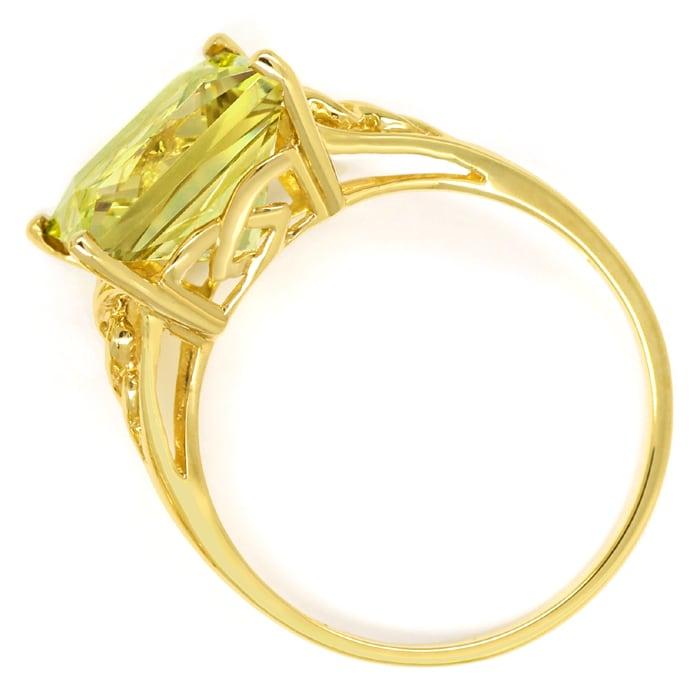 Foto 3, Ring und Ohrringe mit Prasiolith Lemonquarz in Gelbgold, Q0190