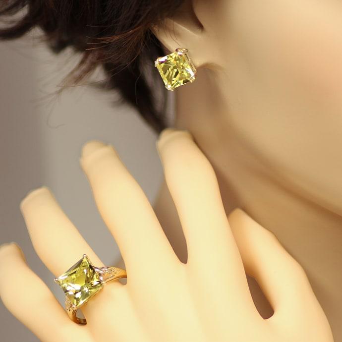 Foto 5, Ring und Ohrringe mit Prasiolith Lemonquarz in Gelbgold, Q0190