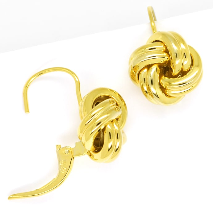 Foto 1, Ohrringe in charmantem Knoten Design aus 585er Gelbgold, Q0194