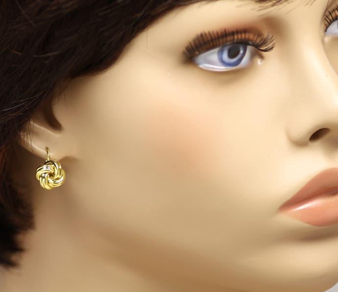 Foto 2, Ohrringe in charmantem Knoten Design aus 585er Gelbgold, Q0194