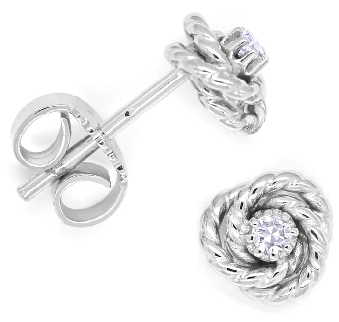Foto 1, Knoten Ohrstecker in 14K Weissgold mit 0,05ct Diamanten, Q0197