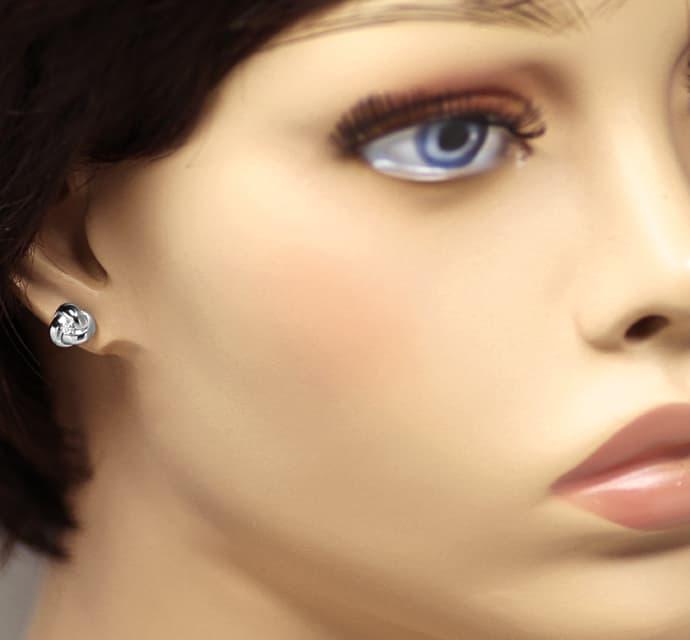 Foto 2, Diamant Ohrstecker Knoten mit River Diamanten Weissgold, Q0198