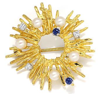 Foto 1, Sonnen Goldbrosche mit Diamanten Safiren und Perlen 14K, Q0215
