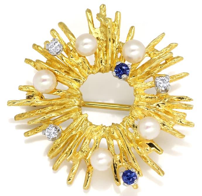 Foto 2, Sonnen Goldbrosche mit Diamanten Safiren und Perlen 14K, Q0215