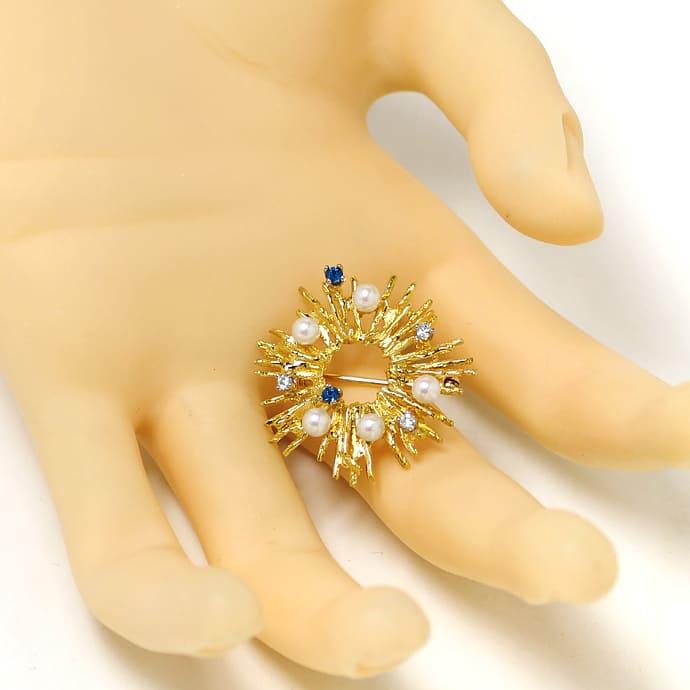 Foto 3, Sonnen Goldbrosche mit Diamanten Safiren und Perlen 14K, Q0215