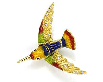Foto 1 - Anstecker bunt emaillierter Vogel mit Diamanten in Gold, Q0216