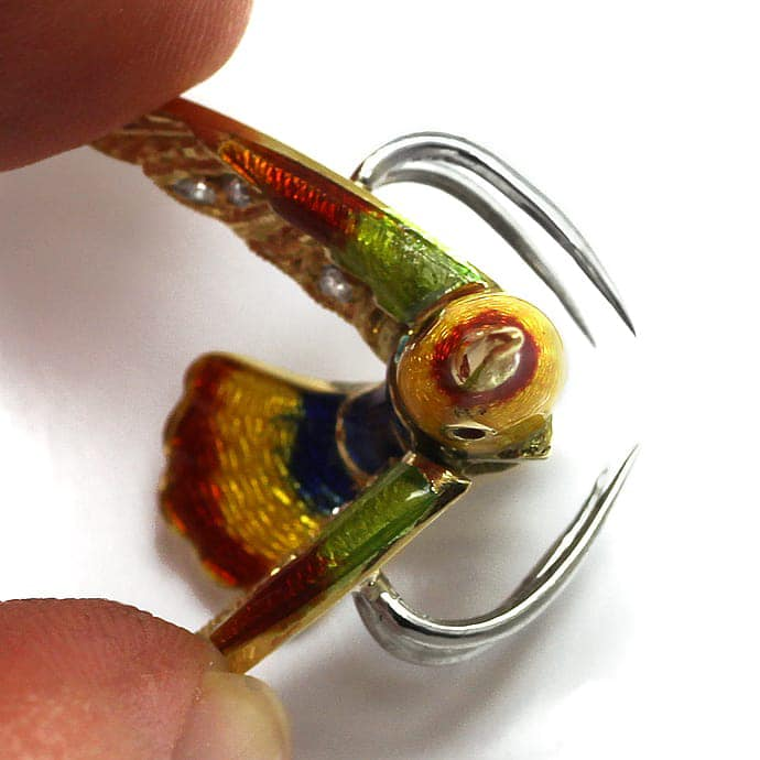 Foto 2 - Anstecker bunt emaillierter Vogel mit Diamanten in Gold, Q0216