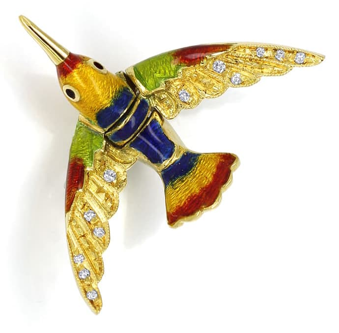 Foto 3, Anstecker bunt emaillierter Vogel mit Diamanten in Gold, Q0216