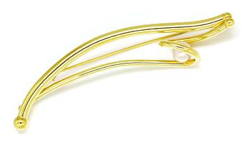Foto 1, Anstecknadel Design Gelbgoldbrosche mit Akoya Perle 14K, Q0219