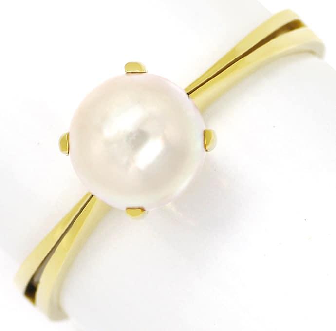Foto 2, Goldring mit schimmernder 6,5mm Zuchtperle 14K Gelbgold, Q0223