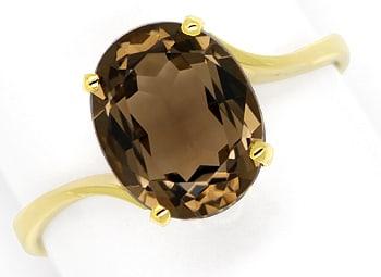 Foto 1, Goldring ovaler 2,3ct Spitzen Rauchquarz 585er Gelbgold, Q0224