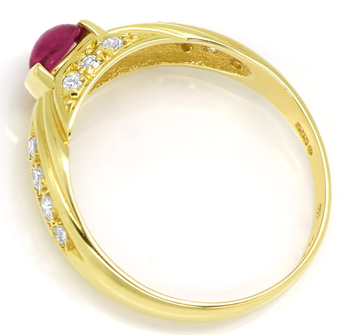 Foto 3, Diamantbandring mit Rubin Cabochon und Diamanten in 14K, Q0231