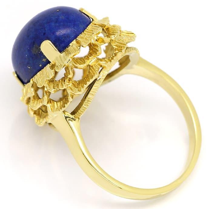 Foto 3, Gold Ring 9,5ct Super Lapislazuli Cabochon 585 Gelbgold, Q0232