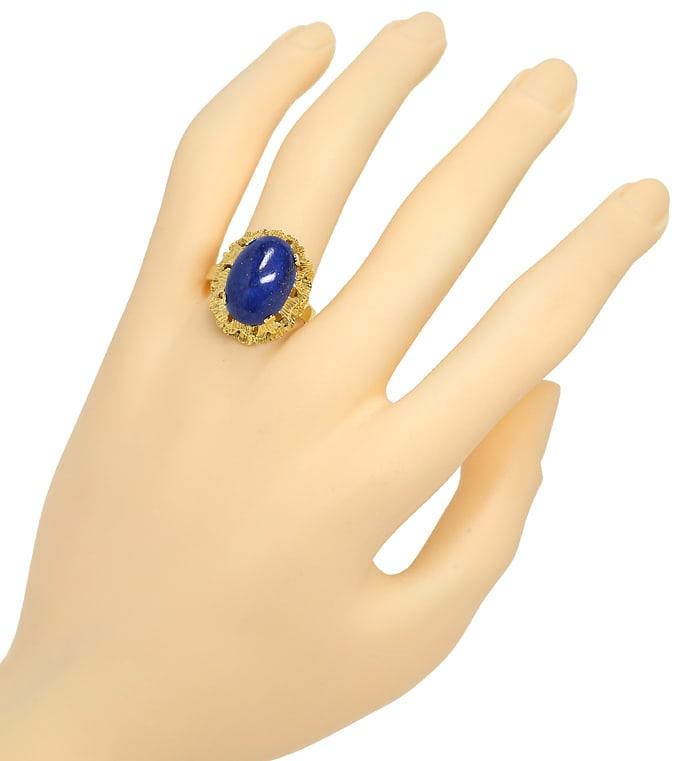 Foto 4, Gold Ring 9,5ct Super Lapislazuli Cabochon 585 Gelbgold, Q0232
