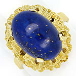 Gold Ring 9,5ct Super Lapislazuli Cabochon 585 Gelbgold