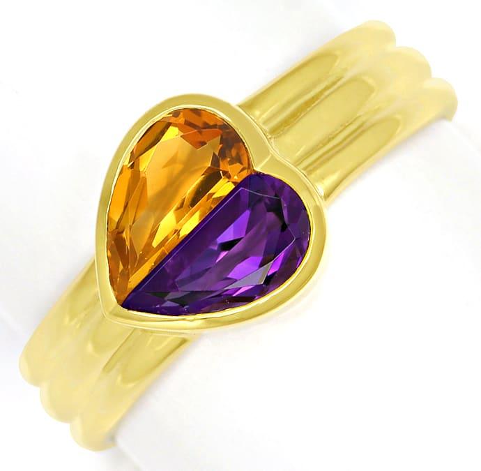 Foto 2, Edelsteinring Herz aus Amethyst und Citrin 14K Gelbgold, Q0233