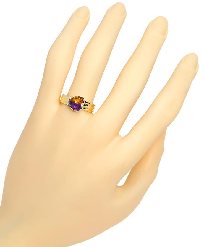 Foto 4, Edelsteinring Herz aus Amethyst und Citrin 14K Gelbgold, Q0233