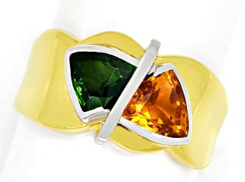 Foto 1, Design Goldring mit Citrin und Turmalin Trillantschliff, Q0234