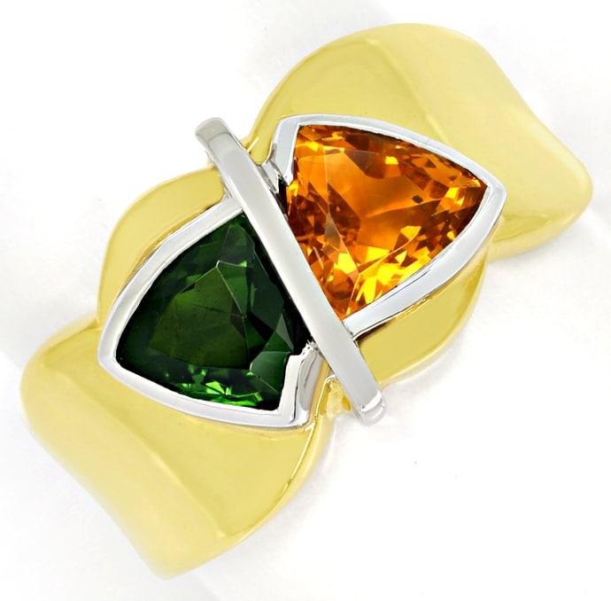 Foto 2, Design Goldring mit Citrin und Turmalin Trillantschliff, Q0234