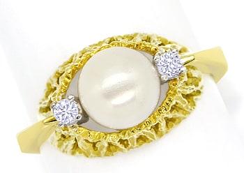Foto 1, Diamantring mit Zuchtperle und Brillianten 14K Gelbgold, Q0235