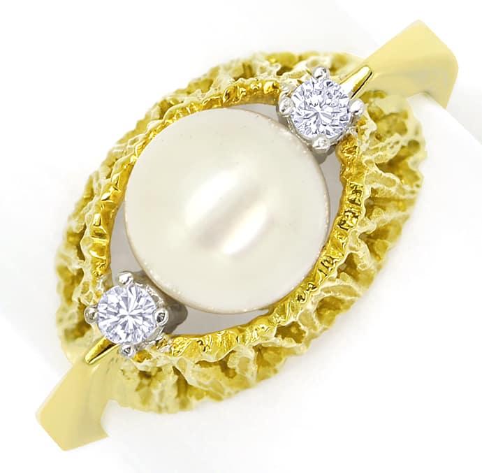 Foto 2, Diamantring mit Zuchtperle und Brillianten 14K Gelbgold, Q0235
