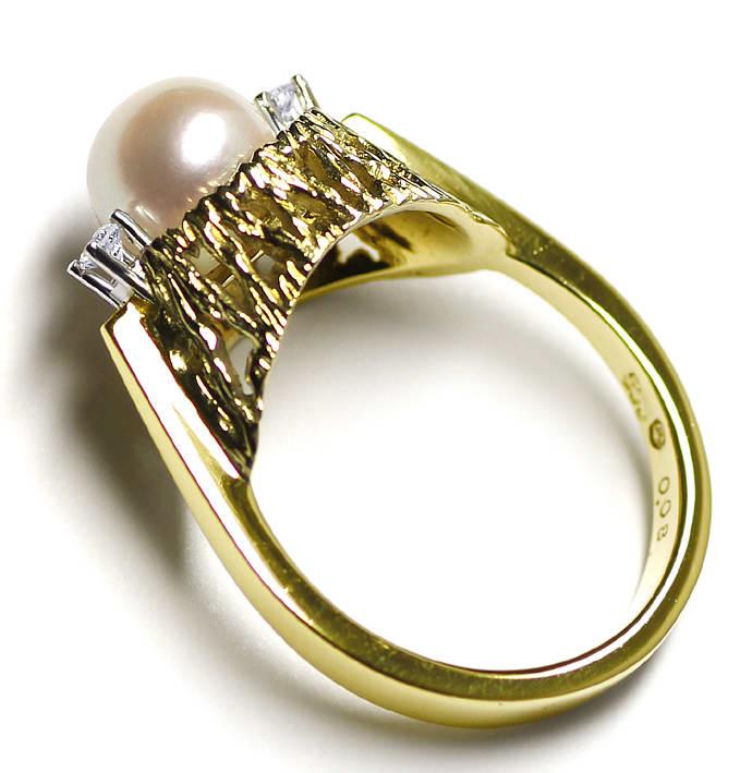 Foto 3, Diamantring mit Zuchtperle und Brillianten 14K Gelbgold, Q0235