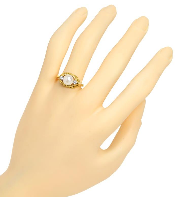 Foto 4, Diamantring mit Zuchtperle und Brillianten 14K Gelbgold, Q0235