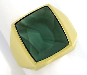 Foto 1, Herrenring 6,5ct riesiger grüner Spinell 585er Gelbgold, Q0237