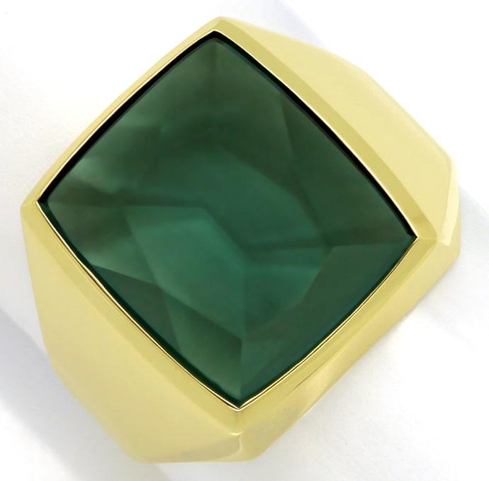 Foto 2, Herrenring 6,5ct riesiger grüner Spinell 585er Gelbgold, Q0237