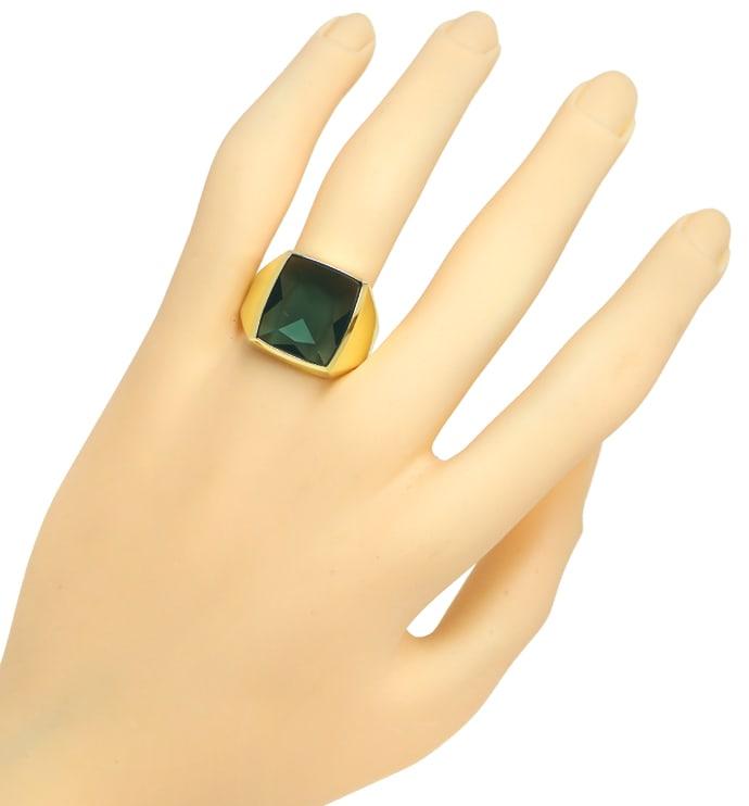 Foto 4, Herrenring 6,5ct riesiger grüner Spinell 585er Gelbgold, Q0237