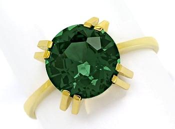 Foto 1, Goldring mit 4,1ct grünem Spinell Solitär, 14K Gelbgold, Q0238