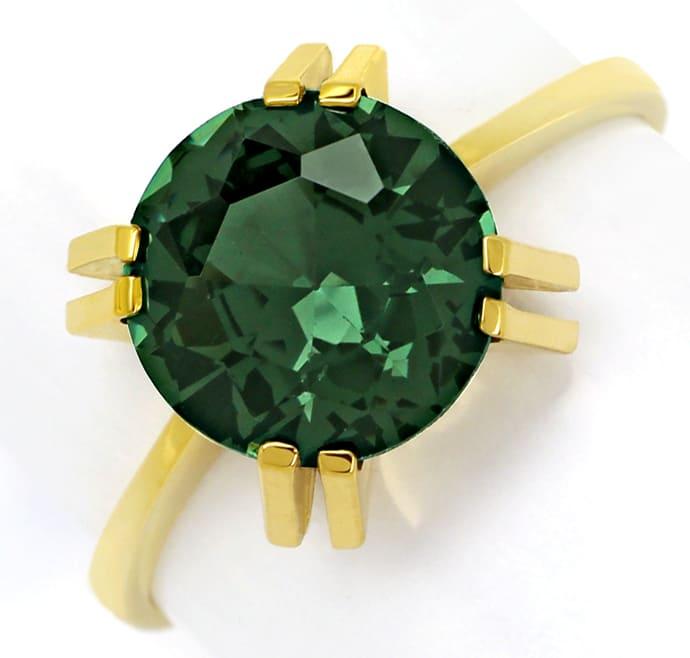 Foto 2, Goldring mit 4,1ct grünem Spinell Solitär, 14K Gelbgold, Q0238
