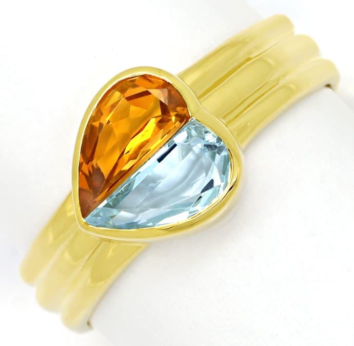 Foto 2, Edelsteinring Herz aus Aquamarin und Citrin in Gelbgold, Q0239