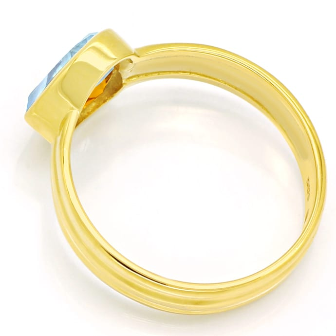Foto 3, Edelsteinring Herz aus Aquamarin und Citrin in Gelbgold, Q0239