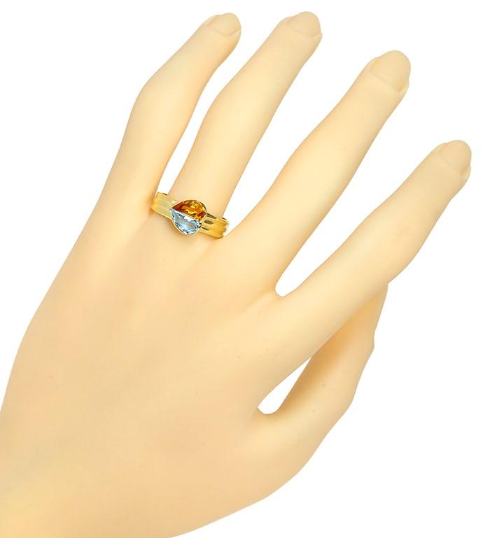 Foto 4, Edelsteinring Herz aus Aquamarin und Citrin in Gelbgold, Q0239