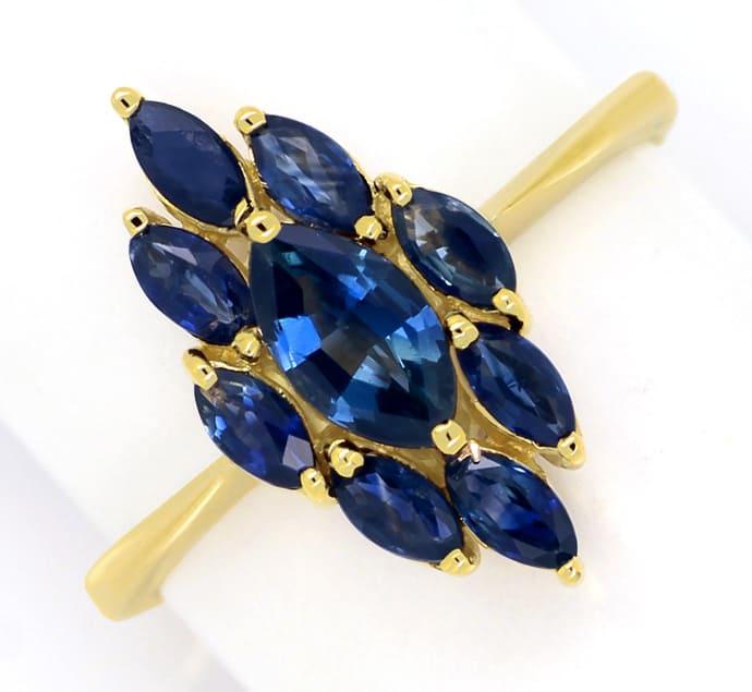 Foto 2, Goldring mit blauen Spitzen Saphiren in Navetteform 14K, Q0240